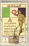 Stamps Asia - Iraq -  saludo militar sobre bandera