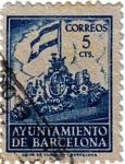 Sellos de Europa - Espa�a -  Barcelona. Frontispicio del ayuntamiento 1940