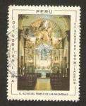 Sellos de America - Perú -  templo de las nazarenas, el altar con el señor de los milagros