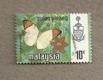 Stamps Malaysia -  Mariposa Hebomoia glaucippe