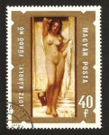 Stamps : Europe : Hungary :  pintor lotz karoly, su cuadro;  mujer despues del baño