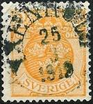 Stamps Sweden -  Filigrana líneas onduladas oblícuas