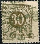 Stamps Europe - Sweden -  Tipo de 1872-85 (cifra y emblema con una trompeta postal impresa en el dorso)