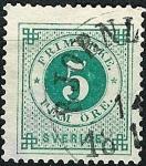 Stamps Sweden -  Tipo de 1872-85 (cifra y emblema con una trompeta postal impresa en el dorso)