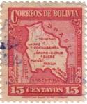 Sellos de America - Bolivia -  Mapa de Bolivia.