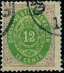 Stamps America - Danish West Indies -  Cifra filigrana