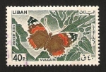 Sellos del Mundo : Asia : Líbano : Mariposa vulcain