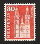 Stamps : Europe : Switzerland :  catedral de zurich