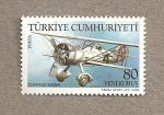 Stamps Turkey -  Avión Curtiss Hawk