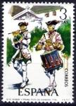 Stamps Spain -  Uniformes militares. Tambor del Regimiento de Granada, año 1734.