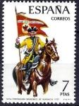 Sellos de Europa - España -  Uniformes militares. Portaguión de Dragones de Numancia, año 1737