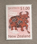 Stamps New Zealand -  Año chino del buey