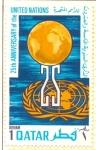 Sellos del Mundo : Asia : Qatar : 25 Aniv.Naciones Unidas
