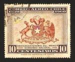 Stamps : America : Chile :  150 anivº del primer gobierno nacional