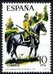 Stamps Spain -  Uniformes militares. Dragón del Regimiento de Sagunto, año1775