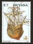 Sellos del Mundo : America : Guyana : barco, santa maria