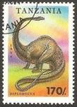 Stamps Africa - Tanzania -  dinosaurio diplodocus
