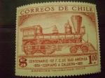 Sellos del Mundo : America : Chile :  centenario 1º ferrocarril de sud america