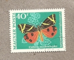 Stamps Hungary -  Mariposa Callimorpha quadripunctata