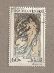 Stamps Czechoslovakia -  Cuadro de Alfons Mucha