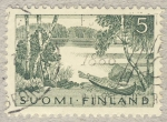 Stamps Finland -  canoa en lago