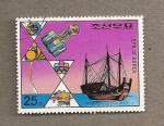 Sellos de Asia - Corea del norte -  Junco y satélite