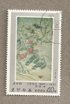 Stamps North Korea -  Pinturas por Ri Am siglo XVI