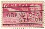 Sellos de America - Estados Unidos -  USA 1949 Scott C45 Sello Air Mail Aniversario 1º Vuelo de los Hermanos Wright usado Estados Unidos