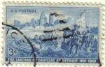 Sellos de America - Estados Unidos -  USA 1951 Scott 1000 Sello El Desembarco de Cadillac a Detroit usado Estados Unidos Etats Unis