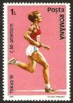 Stamps : Europe : Romania :  olimpiadas de tokio 91, atletismo