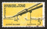 Sellos del Mundo : Africa : Chad : puente de chari e hipopotamo