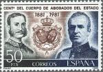 Stamps Spain -  ESPAÑA 1981 2624 Sello Nuevo Centenario del Cuerpo de Abogados del Estado Alfonso XII y Juan Carlos