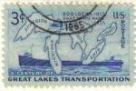 Sellos de America - Estados Unidos -  USA 1955 Scott 1069 Sello Centenario Mapa de los Grandes Lagos y barcos a vapor usado