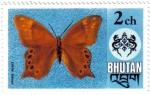 Sellos de Asia - Bhután -  Mariposa lethe kansa