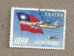 Stamps Asia - Taiwan -  Avión y bandera china nacionalista