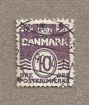Stamps Denmark -  Rayas onduladas y valores numéricos