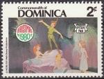 Stamps America - Antigua and Barbuda -  Dominica 1980 Scott 681 Sello Nuevo Disney Peter Pan, Wendy y las Sirenas