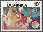 Sellos de America - Antigua y Barbuda -  Dominica 1980 Scott 685 Sello Nuevo Disney Peter Pan, Wendy, Capitán Garfio y Sinee