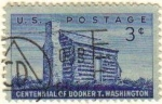 Stamps United States -  USA 1956 Scott 1074 Sello Booker Taliaferro Washington Lider comunidad Negra Organización Log Cabin