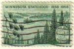Stamps United States -  USA 1958 Scott 1106 Sello Minnesota Statehool Lagos y Pinares usado