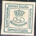 Stamps Spain -  ESPAÑA 1876 173 Sello Nuevo Corona Real 1/4c Sin Goma