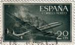 """Stamps : Europe : Spain :  Superconstellation y Nao """"santa María"""""""