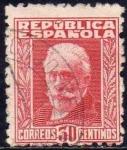 Stamps Spain -  ESPAÑA 1931 658 Sello Pablo Iglesias 30c Usado c/numero de control al dorso República Española