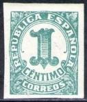 Stamps Spain -  ESPAÑA 1933 677 Sello ** Cifras 1c sin dentar Republica Española