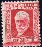 Sellos del Mundo : Europa : España : ESPAÑA 1931 658 Sello Pablo Iglesias 30c Usado c/numero de control al dorso República Española