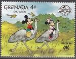 Sellos de America - Granada -  Granada 1988 Scott1641 Sello ** Disney SYDPEX Australia Camping Mickey y Minnie en Emu y Emu-Wren