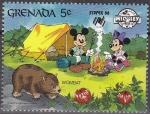 Sellos del Mundo : America : Granada : Granada 1988 Scott 1642 Sello ** Walt Disney SYDPEX Australia Camping Mickey y Minnie con Wombat 5c