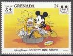 Stamps America - Grenada -  Grenada 1994 Scott2363 Sello Nuevo Disney Año del Perro Mickey bañando a Pluto 2c