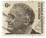 Stamps United States -  USA 1965 Scott 1284 Sello Presidente 32º Franklin Delano Roosevelt (30/01/1882-12/04/1945) usado