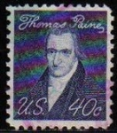 Sellos de America - Estados Unidos -  USA 1968 Michel 942X Sello Serie Personajes Thormas Paine usado